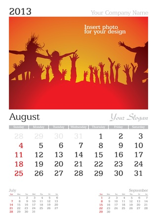 thursday: August 2013 A3 calendar - vector illustration