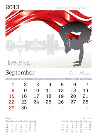 September 2013 A3 calendar - vector illustration Stock Vector - 15310452