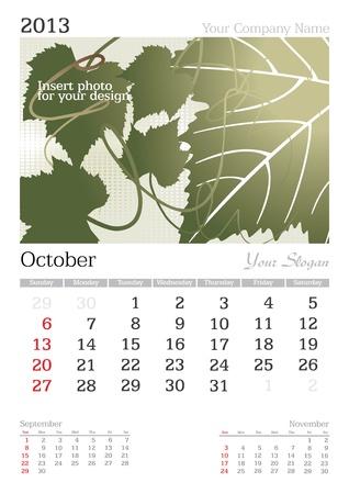 October 2013 A3 calendar - vector illustration Stock Vector - 15310465