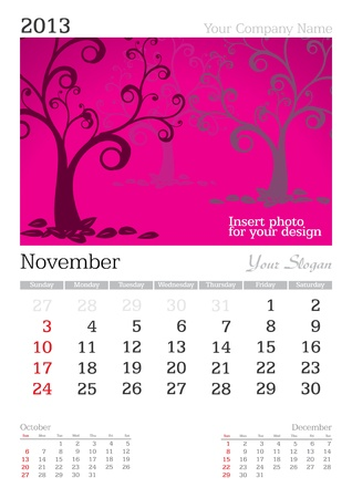 thursday: November 2013 A3 calendar - vector illustration