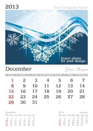 December 2013 A3 calendar - vector illustration Stock Vector - 15310457