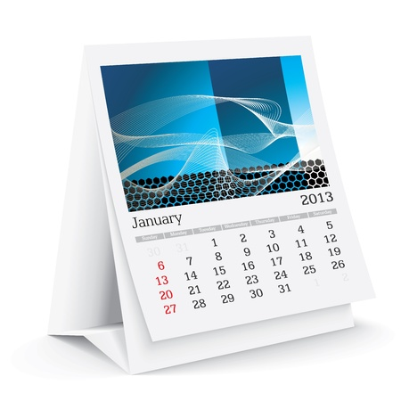 january 2013 desk calendar Stock Vector - 15589323