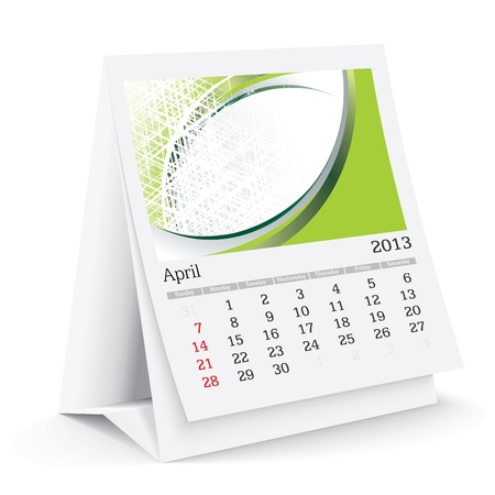 calendario da tavolo: Aprile 2013 Desk Calendar Vettoriali