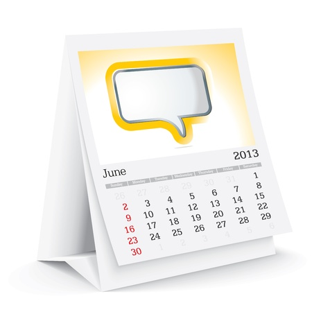 june 2013 desk calendar Stock Vector - 15589314