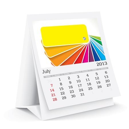 calendario da tavolo: Luglio 2013 Desk Calendar Vettoriali
