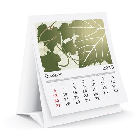 calendario da tavolo: Ottobre 2013 calendario da tavolo Vettoriali
