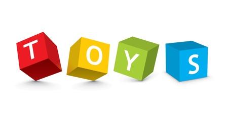3d kids: illustration of toy blocks Illustration