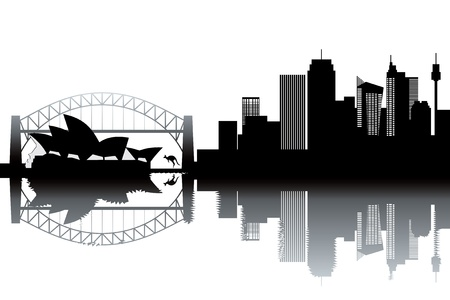 Sidney skyline - black and white illustration