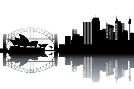 sidney: Sidney skyline - black and white illustration