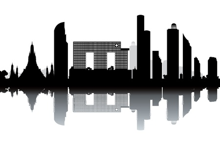 bangkok: Bangkok skyline - black and white illustration