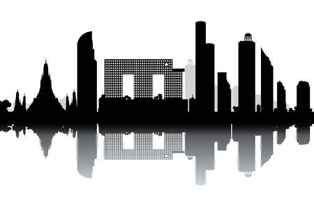 bangkok landmark: Bangkok skyline - black and white illustration