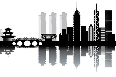 southeast asia: Hon Kong skyline - black and white illustration Illustration