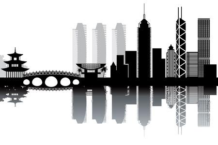 本町香港のスカイライン - 黒と白のイラスト
