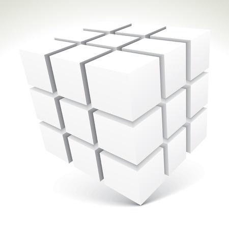 3D white cubes - vector illustration Stock Vector - 18170360