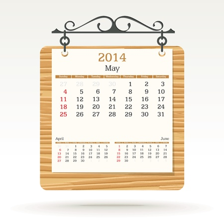 may 2014 - calendar - vector illustration Stock Vector - 19370956