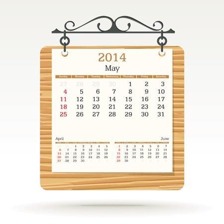 may 2014 - calendar - vector illustration Stock Vector - 19370956