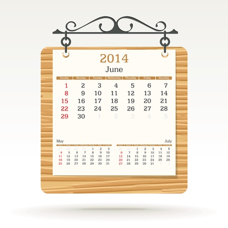 june 2014 - calendar - vector illustration Stock Vector - 19373694