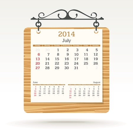 july 2014 - calendar - vector illustration Stock Vector - 19373689