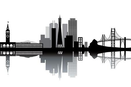 샌프란시스코: 샌프란시스코의 스카이 라인 - 흑백 그림 일러스트
