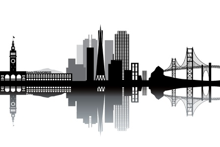 panoramic view: San Francisco skyline - black and white illustration Illustration