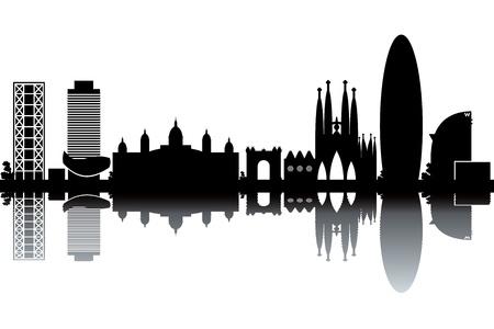 바르셀로나의 스카이 라인 - 흑백 그림 일러스트