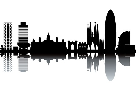 tourist: Barcelona skyline - black and white illustration