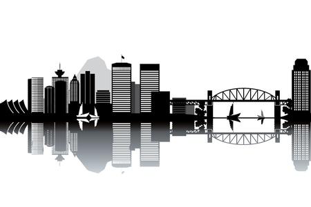 místo: Vancouver panorama - černé a bílé vektorové ilustrace