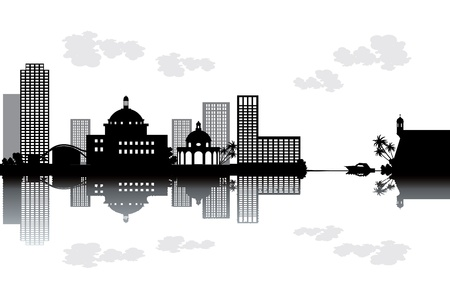 rico: Puerto Rico skyline - black and white vector illustration