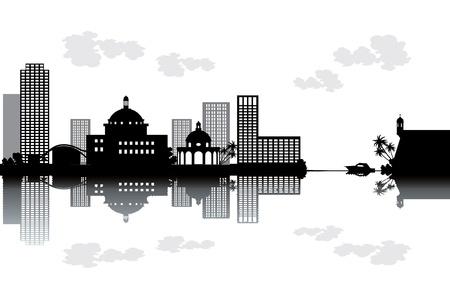 Puerto Rico skyline - black and white vector illustration