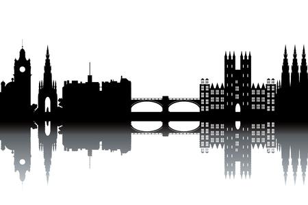scotland: Edinburgh skyline - black and white vector illustration