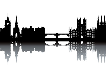 Toits d'Edimbourg - noir et blanc illustration vectorielle