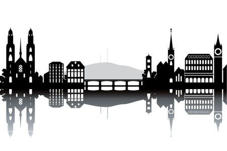 switzerland: Zurich skyline - black and white vector illustration