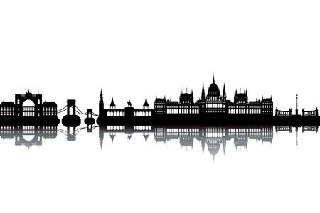 ブダペストのスカイライン - 黒と白のベクトル図