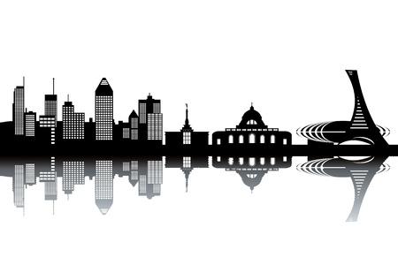 モントリオールのスカイライン - 黒と白のベクトル図