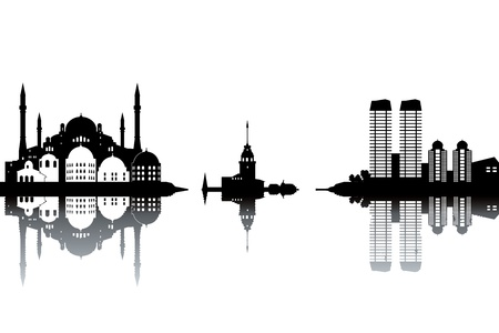 harem: Istanbul skyline - black and white vector illustration