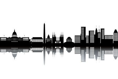 senate: Washington skyline - black and white illustration