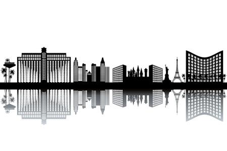 ラスベガスのスカイライン - 黒と白のイラスト