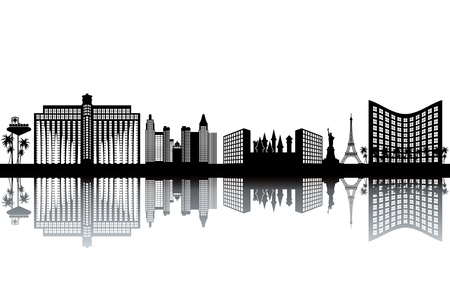 las vegas strip: Las Vegas skyline - black and white illustration