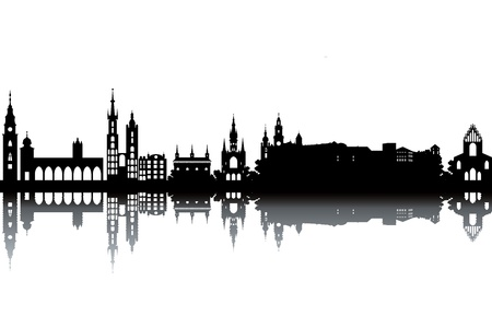 krakow: Krakow skyline - black and white vector illustration Illustration