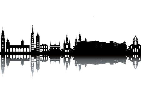 Krakow skyline - black and white vector illustration