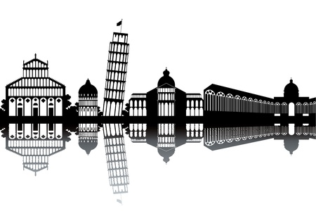 Pisa skyline - black and white vector illustration Vector