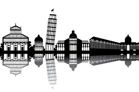 italian tradition: Pisa skyline - black and white vector illustration