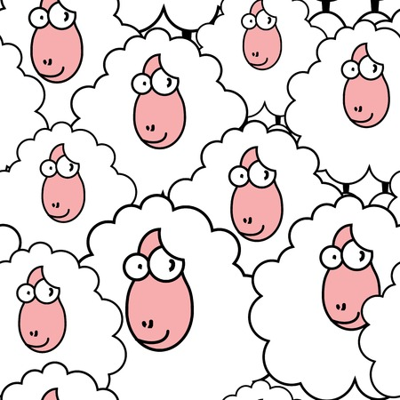 funny sheep pattern  repeating top to down and left to right  Vector