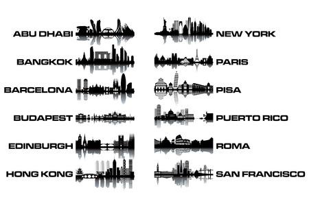 edinburgh: Skyline collectie - zwart en wit vector illustration