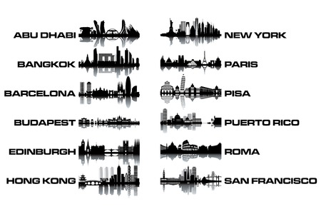 hong kong: Skyline collection - black and white vector illustration