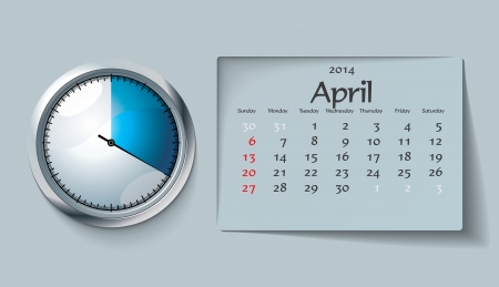 april 2014 - calendar - vector illustration Stock Vector - 22525108