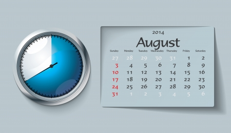 august 2014 - calendar - vector illustration Stock Vector - 22525112