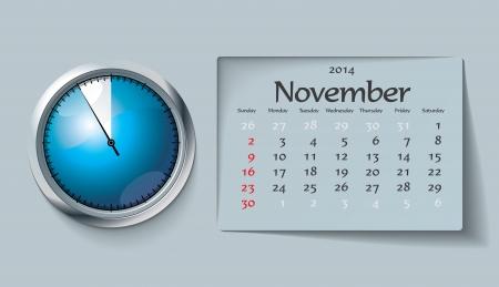 november 2014 - calendar - vector illustration Stock Vector - 22525116