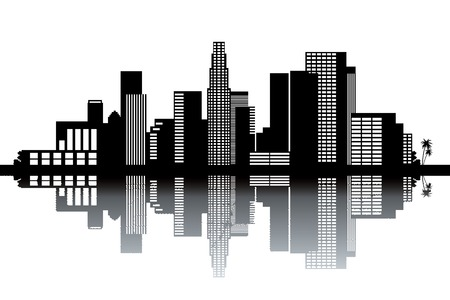 Los Angeles skyline - black and white vector illustration 向量圖像