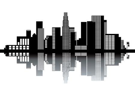 los angeles: Skyline von Los Angeles - Schwarz-Wei�-Vektor-Illustration